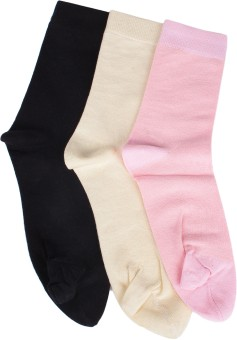 Lacarte Women's Solid Mid-calf Length Socks (Pack Of 3)