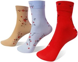 Rege Women's Printed Knee Length Socks (Pack Of 3) - SOCE4T6FMHDRJFPU