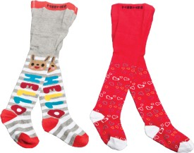 Mee Mee Baby Girl's Printed Knee Length Socks (Pack Of 2)
