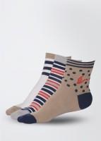 American Swan Women's Striped Ankle Length Socks Pack of 3