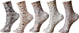 KHI Women's Graphic Print Mid-calf Length Socks (Pack Of 5)