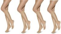 Anfanna Women's Solid Knee Length Socks Pack of 4