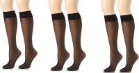 Anfanna Women's Solid Knee Length Socks Pack of 3