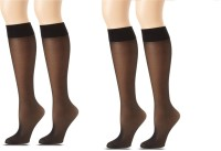 Anfanna Women's Solid Knee Length Socks Pack of 2