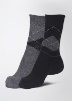 Calzini Men's Checkered Crew Length Socks Pack of 2