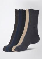 Calzini Men's Solid Crew Length Socks Pack of 5