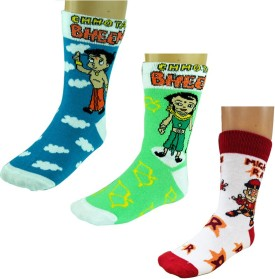 Chhota Bheem Boys Knee Length Socks Boy's Printed Knee Length Socks Pack Of 3