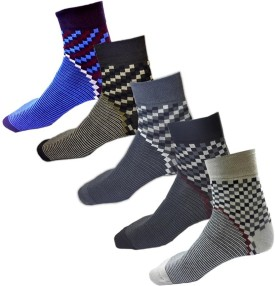 Avm Hw Velvet Men's Graphic Print, Printed, Checkered Ankle Length Socks Pack Of 5