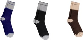 Bs Spy Striped Cotton Lykra Pack Of 3 Men's Striped Crew Length Socks Pack Of 3