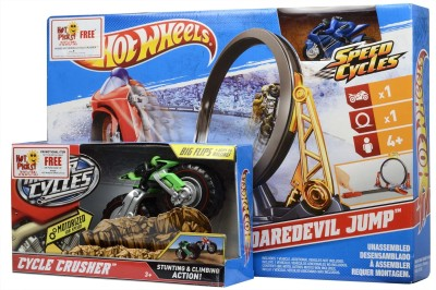 Hot Wheels Spinning & Press n Launch Toys Hot Wheels Moto Daredevil Jump + Cycle Crusher