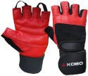 Kobo Training With Wrist Support Gym & Fitness Gloves - S, Black, Red