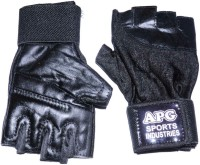 APG Lycra Gym & Fitness Gloves (L, Black)