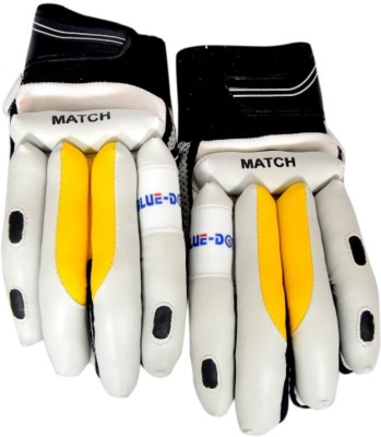 Blue Dot Match Batting Gloves (L, White, Yellow, Black)