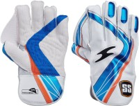 SS Professional Wicket Keeping Gloves (Men, White, Blue)