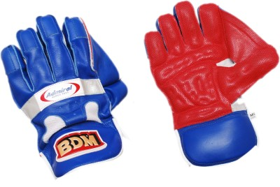 BDM Admiral Super Test Wicket Keeping Gloves (Men, Red, Blue)