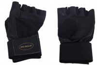 Isosolid Pure Leather Professional Gym & Fitness Gloves (M, Black)