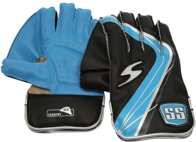 SS Academy Wicket Keeping Gloves (Men, Black, Blue)