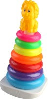 Pigloo Toddler's 7 Colorful Stacking Rings Toy With Lion Top (Multicolor)