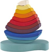Grimm's Spiel And Holz Design Wooden Rainbow Stacking Tower (Multicolor)