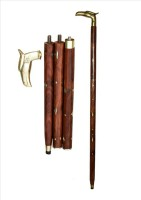 HANDICRAFT Shesham Wood & Brass Made Foldable Royal Polo Stick - 36 Inch (Brown, Gold)
