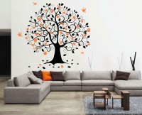 Decor Kafe Decal Style Bird On Tree Small Size-24*22 Inch Vinyl Film Sticker (Pack Of 1)
