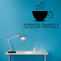Decor Kafe Decal Style Expresso Yourself Wall Art Large Size- 27* 20 Inch Color - Black Wall Sticker (Pack Of 1)