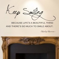 Decor Kafe Decal Style Keep Smiling Wall Medium Size-24*14 Inch Vinyl Film Sticker (Pack Of 1)