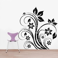Decor Kafe Decal Style Abstract Flowers Art Small Size-19*20 Inch Wall Sticker Sticker (Pack Of 1)