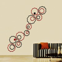 Wow Interiors Red And Black Abstract Flowers Wall Sticker Large Acrylic Sticker (Pack Of 20)