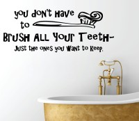 Decor Kafe Brush Your Teeth Wall Decal Small Size-24 X 09 Inch Black Vinyl Film Sticker (Pack Of 1)