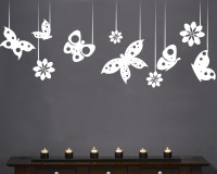 Decor Kafe Decal Style ButterFlies In A Row Art Small Size-22*09 Inch Wall Sticker Sticker (Pack Of 1)