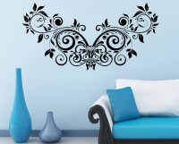 Decor Kafe Decal Style Floral Creative Design Small Size-28*14 Inch Color - Black Vinyl Film Sticker (Pack Of 1)