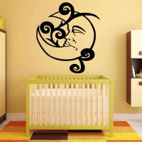 Decor Kafe Decal Style Baby Moon Wall Small Size-21*24 Inch Color - Black Vinyl Film Sticker (Pack Of 1)
