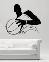 Decor Kafe Decal Style Men With Football Art Small Size-14*12 Inch Wall Sticker Sticker (Pack Of 1)