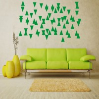 DeStudio Victorian Colors Triangle 2 Color (Green) Size (150cms X 60 Cms) Wall Sticker