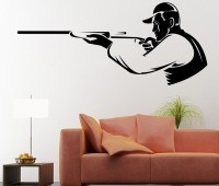 Decor Kafe Decal Style Shooter Men Art Small Size-25*11 Inch Wall Sticker Sticker (Pack Of 1)