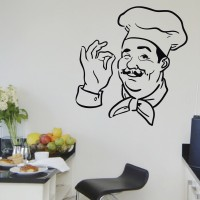 Decor Kafe Decal Style Chef Print Wall Art Medium Size-19 *20 Inch Color- Black Wall Sticker (Pack Of 1)