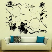 Decor Kafe Decal Style Retro Roses Art Small Size-24*19 Inch Wall Sticker Sticker (Pack Of 1)