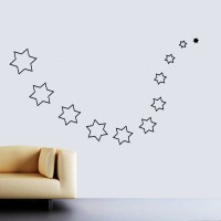 Wow Interiors Black Stars 3D Wall Sticker Large Acrylic Sticker (Pack Of 20)