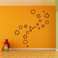 Wow Interiors Red And Black Stars 3d Wall Sticker Small Acrylic Sticker (Pack Of 20)