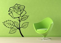 Decor Kafe Decal Style Rose Flower Ouline Wall Tiny-13*17 Inch Color - Black Vinyl Film Sticker (Pack Of 1)