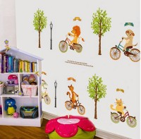 SYGA Cute Cartoon Animals Cycling Wall Pvc Vinyle Sticker (Pack Of 1)