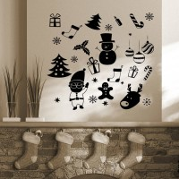 Decor Kafe Santa's Christmas Gifts Self Adhesive Wall Decal Large Size-22*22 Inch Color - Black Wall Sticker Sticker (Pack Of 1)