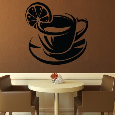 Decor Kafe Decal Style Lemon Coffe Wall Art Small Size- 14 *13 Inch Color - Black Wall Sticker (Pack Of 1)