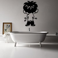 Decor Kafe Decal Style Boy Bath Small Size-10 X 17 Inch Black Vinyl Film Sticker (Pack Of 1)