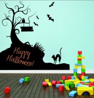 Decor Kafe Decal Style Happy Halloween Art Small Size-24*22 Inch Wall Sticker Sticker (Pack Of 1)