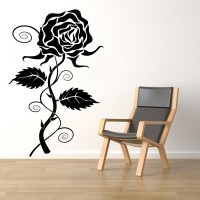 Décor Kafe Decal Style Rose Wall Medium Size-25*38 Inch Color - Black Vinyl Film Sticker (Pack Of 1)