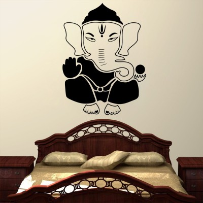 Decor Kafe Decal Style Lord Ganesha Wall Decal Small Size-19*25 Inch Color - Black Vinyl Film Sticker (Pack Of 1)