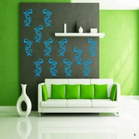 DeStudio Elegant Ornaments One Color (Blue) Size (105cms X 60 Cms) Wall Sticker