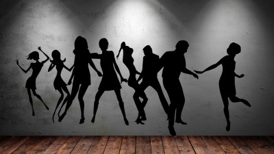 Decor Kafe Dancing Peoples Self Adhesive Wall Decal Large Size-52*23 Inch Color - Black Wall Sticker Sticker (Pack Of 1)